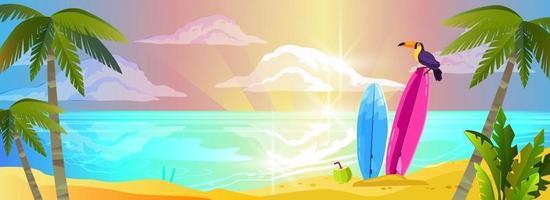 Summer beach vacation banner, beach relax background, tropical island sand, surfboard, toucan, palm vector