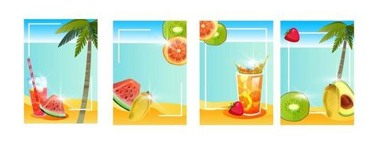 Summer beach vacation banner set, tropical island backgrounds, exotic fruit, cold beverages, palm vector