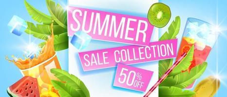 Hot season discount background, summer sale banner, cold beverage glasses, exotic fruit, ice vector