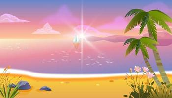 Summer evening beach vacation banner, tropical sunset background, palm tree, calm ocean, clouds vector