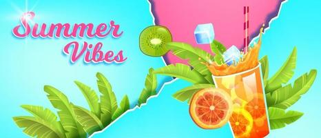 Summer season sale banner, tropical vacation background, cold beverage glass, exotic fruit, ice vector