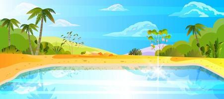 Summer lake weekend banner, exotic vacation background, water, palm trees, clouds, yellow sand vector
