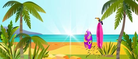 Summer beach vacation banner, tropical weekend background, palm tree, toucan, surfboard, ocean vector