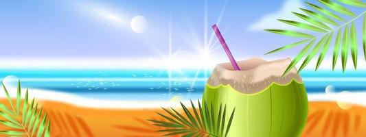 Summer beach banner, exotic paradise vacation background, cold coconut beverage, exotic island beach vector