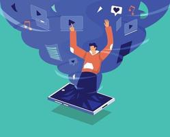 Social media and internet addiction vector concept, Man into media cyclone illustration concept vector