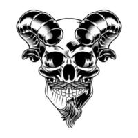 Isolated Skull with Mustache and horns vector