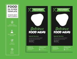 Green and black dl food flyer design. vector