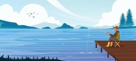 Fishing at the Lake vector