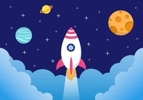 Cute Astronaut In Space Background Illustration vector