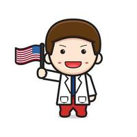 Cute doctor holding flag celebrate america independence day cartoon icon vector illustration
