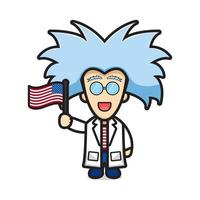 Cute scientist holding flag celebrate america independence day cartoon icon vector illustration