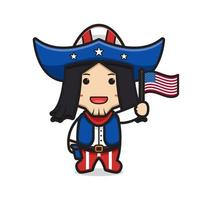 Cute cowboy holding flag celebrate america independence day cartoon icon vector illustration