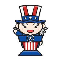 Old cartoon celebrating the USA independence day vector