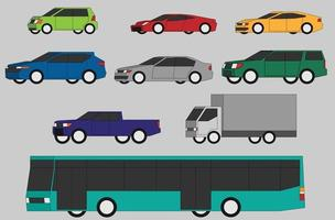 Collection of vehicle side view simplicity flat design. vector