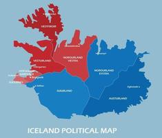 Iceland political map divide by state colorful outline simplicity style. vector