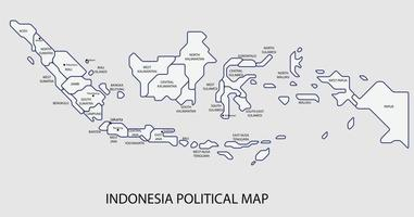 Indonesia political map divide by state colorful outline simplicity style. vector
