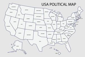 United States of America political map divide by state colorful outline simplicity style. vector