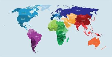 Colorful vector world map complete with all countries and capital cities names.