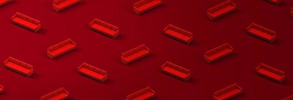 Pattern of red leather sofa on red background. 3d rendering photo