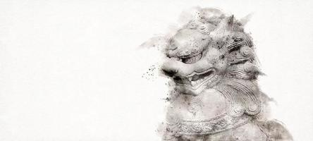 Foo Fu dog or chinese guardian lion on white background. Watercolor style. video
