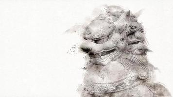 Motion graphic of Foo Fu dog or chinese guardian lion on white background. Watercolor style. video