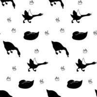 Goose seamless pattern in black and white. Isolated monochrome waterfowl domestic or wild bird ornament textile print vector