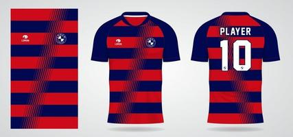 blue red sports jersey template for team uniforms and Soccer t shirt design vector
