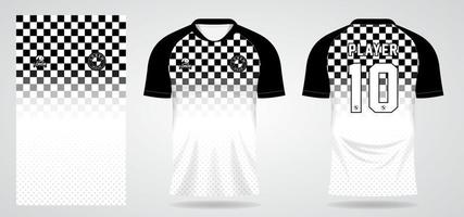 black white chess sports jersey template for team uniforms and Soccer t shirt design vector