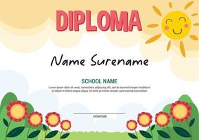School diploma template certificate and awards for kids award apretiation flowers vector