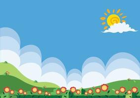 abstract flat landscape flower and grass background vector