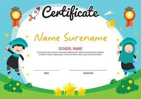 multi purpose school diploma certificate template kids awards with medal and kids muslim jump vector