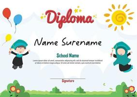 School diploma template certificate and awards for kids award appreciation with two jumping kids vector