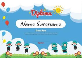 School diploma template certificate and awards for kids award appreciation with jumping kids in background vector