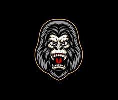 Gorilla head angry vector