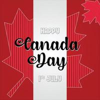 Celebration of Canada Day on maple leaf vector