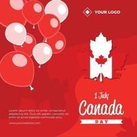 Celebration of Canada day social media poster vector