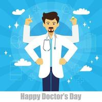 The character of doctor have four hands like a god on blue background vector