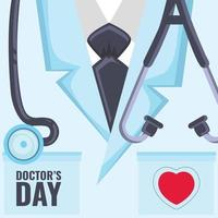 Doctors day celebrate with illustration of doctors kit in cool color screen vector
