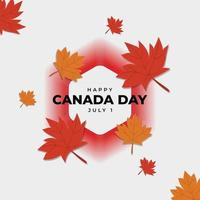 Poster of celebration of Canada day on the red shades hexagon background. In poster red and orange maple leaves vector