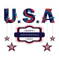 Independence day of USA with stars hanger vector