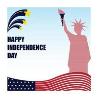 Linework of liberty statue makes more prominent to poster of independence day vector