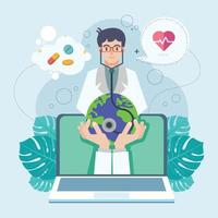 Illustration of Doctors Day indicates online doctors service vector