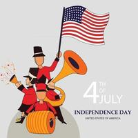 Celelbration of Independence day of USA with musical band vector