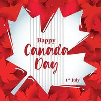 Happy Canada Day on Red Maple Levaes vector