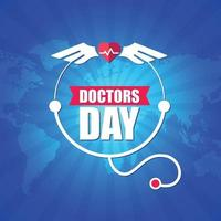 The expressive doctors day logo which is on world map vector