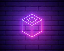 cube icon. Elements of Web in neon style icons. Simple icon for websites, web design, mobile app, info graphics isolated on brick wall vector