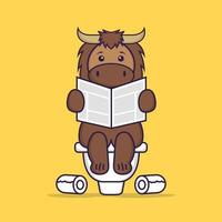 Cute bull Pooping On Toilet and read newspaper. Animal cartoon concept isolated. Can used for t-shirt, greeting card, invitation card or mascot. Flat Cartoon Style vector