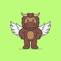 Cute bull using wings. Animal cartoon concept isolated. Can used for t-shirt, greeting card, invitation card or mascot. Flat Cartoon Style vector