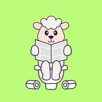 Cute sheep Pooping On Toilet and read newspaper. Animal cartoon concept isolated. Can used for t-shirt, greeting card, invitation card or mascot. Flat Cartoon Style vector