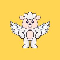Cute sheep using wings. Animal cartoon concept isolated. Can used for t-shirt, greeting card, invitation card or mascot. Flat Cartoon Style vector